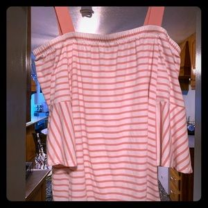 Lane Bryant Off Shoulder Pink and White top